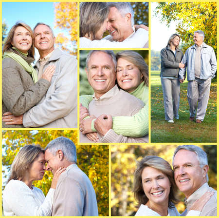 elderly couples: Smiling happy  elderly couple in summer park  Stock Photo