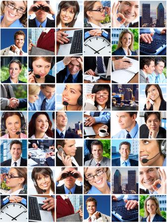 woman on phone: Business people. Business team. Teamwork Stock Photo