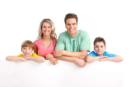 Happy family. Father, mother and children . Over white background Stock Photo - 6608005