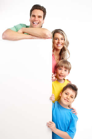 plackard: Happy family. Father, mother and children . Over white background  Stock Photo