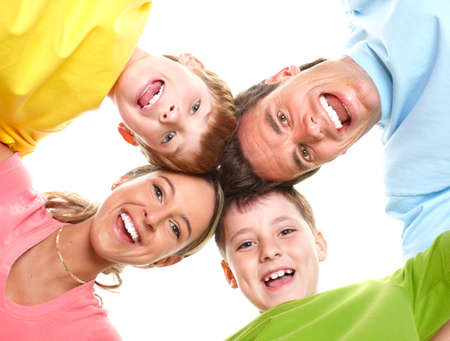 Happy family. Father, mother and children . Over white background Stock Photo - 6607995