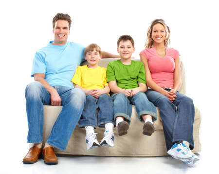 Happy family. Father, mother and children. Over white background Stock Photo - 6608025