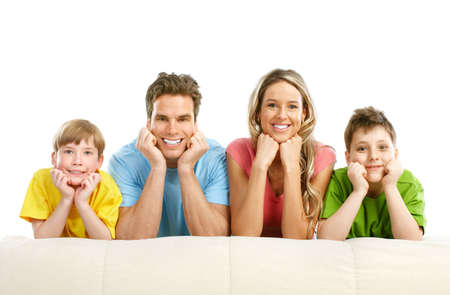 Happy family. Father, mother and children. Over white background Stock Photo - 6608015