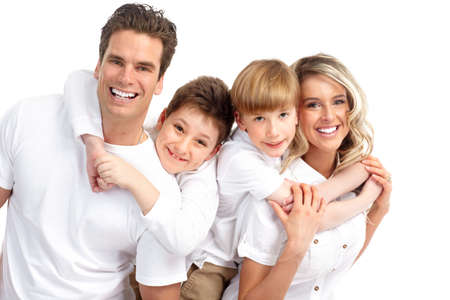 teeth smile: Happy family. Father, mother and children . Over white background  Stock Photo