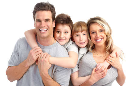 dentistry: Happy family. Father, mother and children . Over white background  Stock Photo