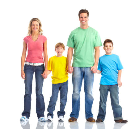 Happy family. Father, mother and children. Isolated over white background Stock Photo - 6608018