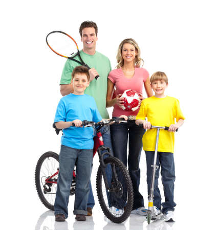 Happy sportive family. Father, mother and boy. Over white background  photo
