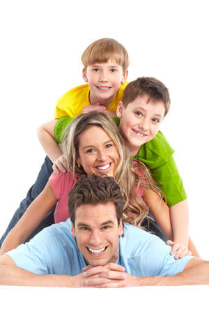 Happy family. Father, mother and children. Over white background Stock Photo - 6608021