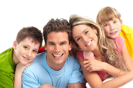 smile teeth: Happy family. Father, mother and children. Over white background