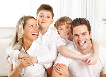family house: Happy family. Father, mother and children at home