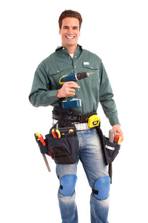 Young handsome builder worker. Isolated over white background Stock Photo - 6608020