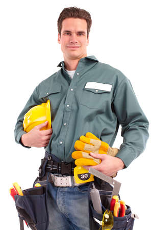 Young handsome builder worker. Isolated over white background  photo