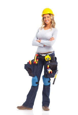 house worker: Young builder woman. Isolated over white background  Stock Photo