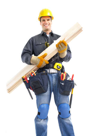 Young handsome builder worker. Isolated over white background Stock Photo - 6608036
