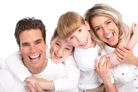 Happy family. Father, mother and children. Over white background Stock Photo - 6637680