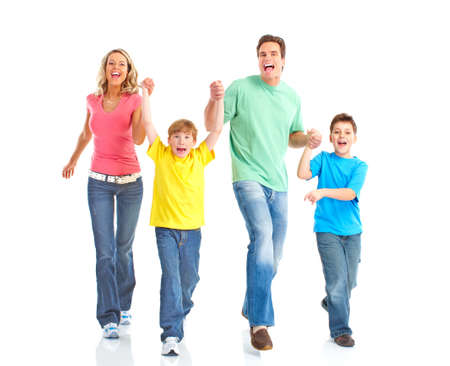 home run: Happy family. Father, mother and children. Isolated over white background  Stock Photo