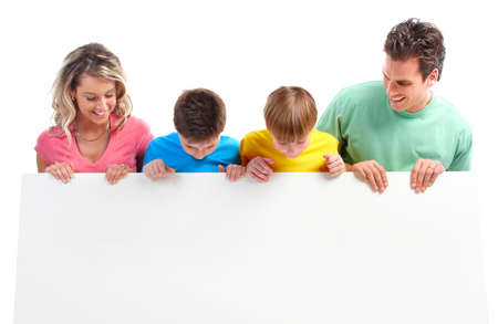 plackard: Happy family. Father, mother and children. . Over white background