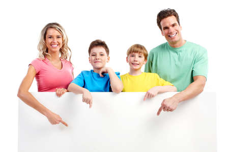 plackard: Happy family. Father, mother and children. . Over white background  Stock Photo