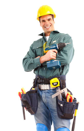Young handsome plumber worker with adjustable wrench. Isolated over white background Stock Photo - 6637695