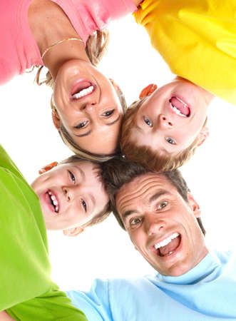 Happy family. Father, mother and children. Over white background Stock Photo - 6637697
