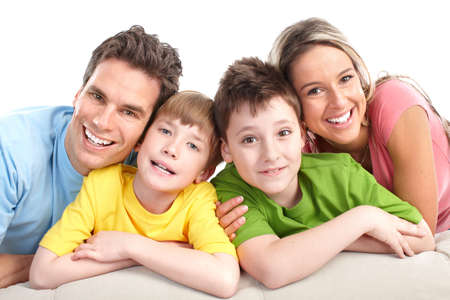 family on couch: Happy family. Father, mother and children. Over white background