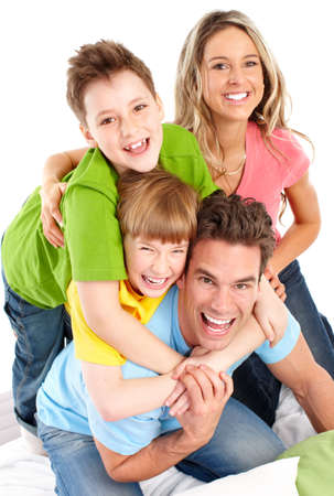 Happy family. Father, mother and children. Over white background Stock Photo - 6637693