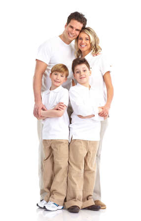 Happy family. Father, mother and children. . Over white background Stock Photo - 6637651