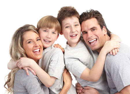 Happy family. Father, mother and children. Over white background Stock Photo - 6637698