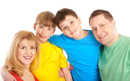 Happy family. Father, mother and children. Over white background Stock Photo - 6637636