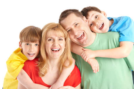 family sofa: Happy family. Father, mother and children. Over white background   Stock Photo