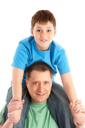 Happy family. Father and son. Isolated over white background