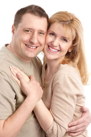 Happy smiling couple in love. Over white background Stock Photo - 6637673