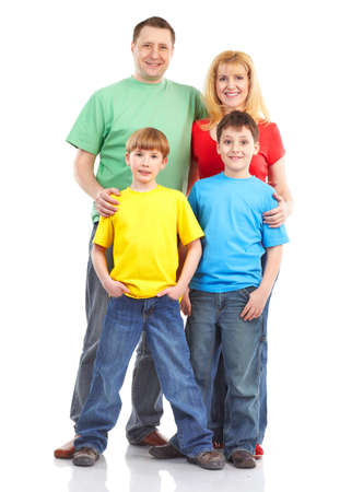 Happy family. Father, mother and children. . Over white background Stock Photo - 6637715