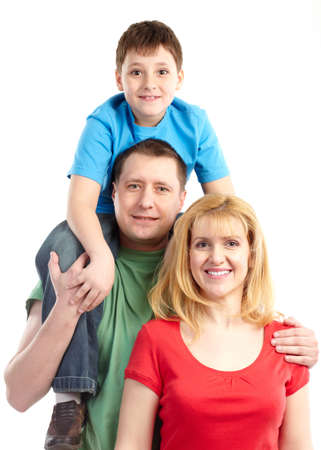 Happy family. Father, mother and boy. Over white background Stock Photo - 6637707