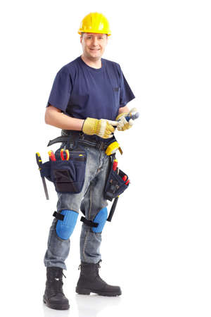 Handsome builder with tools. Isolated over white background Stock Photo - 6637658