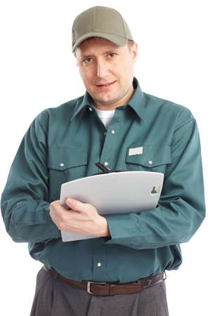 Young handsome worker. Isolated over white background Stock Photo - 6637656