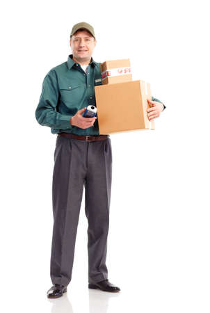 Delivery service. Handsome worker with a box. Isolated over white background  photo