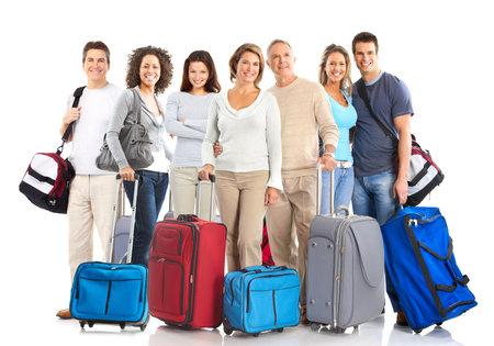 mujer con maleta: Gente feliz tur�stica. Aislados sobre fondo blanco