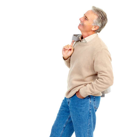 60s fashion: Smiling happy senior  man. Isolated over white background
