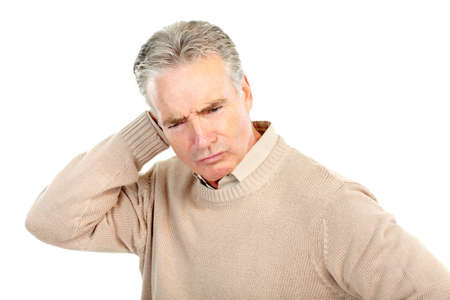 problem: Serious  elderly senior man. Isolated over white background  Stock Photo