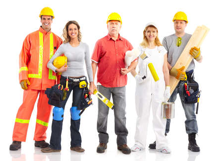 constructor: Smiling builder people. Isolated over white background