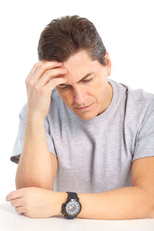 health issue: Man having headache. Isolated over white background