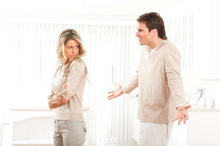 arguments: Angry couple at home. Divorce  Stock Photo