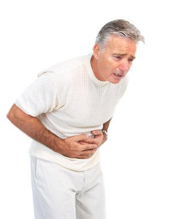 food poisoning: Senior elderly man having stomach pain. Isolated over white background