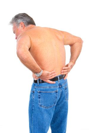 Senior elderly man having back pain. Isolated over white background  photo