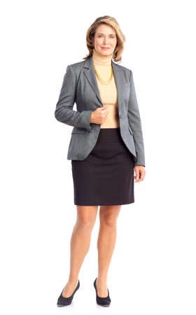 Smiling business woman. Isolated over white background  版權商用圖片