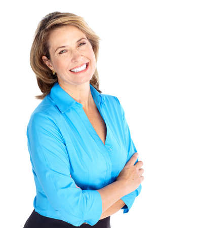 professionals: Smiling business woman. Isolated over white background  Stock Photo