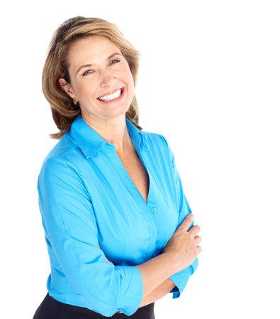Sorridente donna d'affari. Isolato su sfondo bianco Archivio Fotografico - 6733138