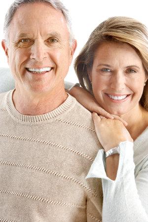Happy senoir couple in love. Isolated over white background  Stock Photo