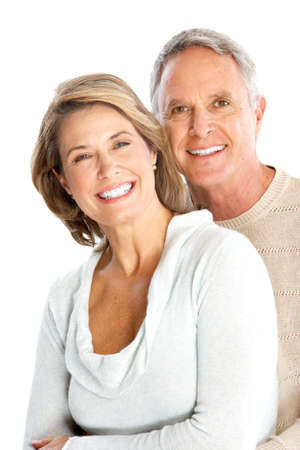 elderly couples: Happy senoir couple in love. Isolated over white background  Stock Photo